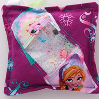 I Spy Bag with detachable item list, Frozen Elsa and Anna, Girl themed items.