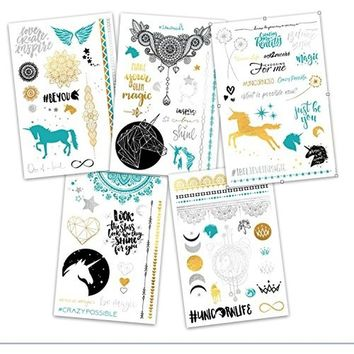 Stunning gold and silver metallic temporary tattoos. With flash unicorns, glitter stars, shimmer feathers and henna tattoo flowe