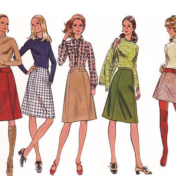 McCall's 2982 Mod Skirt & Belt 1960s Vintage Sewing Pattern Size 12 Waist 25 1/2 inches