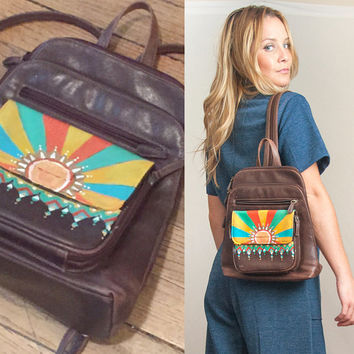 80s Distressed Leather Hand Painted Mini Backpack Festival Back 1970s Retro Psychedelic Art Painted Leather Handbag Shoulder Bag 70s Purse