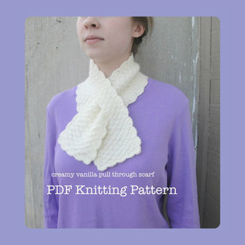 Creamy Vanilla Pull Through Scarf PDF Knitting Pattern, Worsted Yarn Lion Brand Angora Merino, Easy Ascot Neck Warmer Office Keyhole