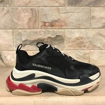 NIB Balenciaga Triple S Sneaker Womens Black Red Leather Speed Flat Trainers 37