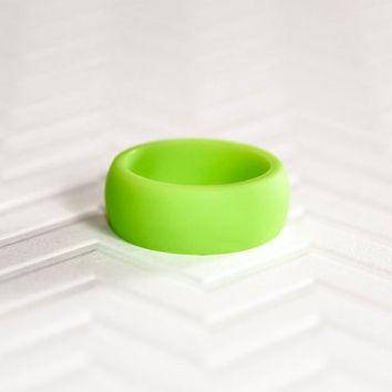 Silicone Wedding Band Green Mens Ring Gift For Men