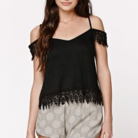 LA Hearts Crochet Trim Cold Shoulder Top - Womens Tee