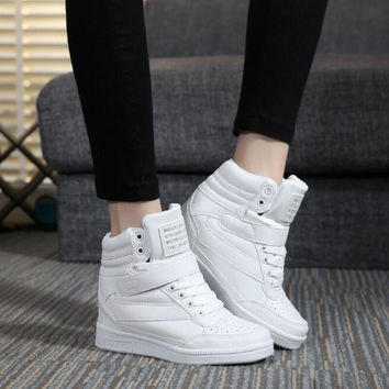 2015 spring autumn ankle boots heels shoes women casual shoes height increased wedges shoes high top mixed color Shoes