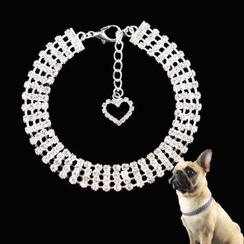 VUGSUCE Rhinestones Pet Dog Collar Puppy Fine Love Necklace Collar for Small Dogs Cats Pets Dog Accessories Chain for C