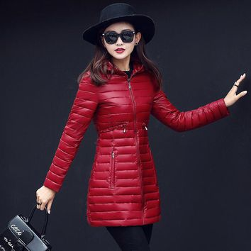 Fashion Winter Women Coat Warm Hooeded Cotton Long Coat for Women Jacket Hooded Thin Winter Coat Outwear Female Parkas