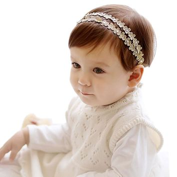 Beaded Hair Band Rhinestone Headband Flower Turban Headband Enfeites De Cabelo Infantil #2458