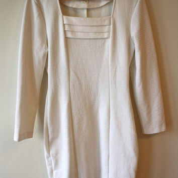 80s White Textured Stretchy Shift Dress Long Sleeves Womens Small