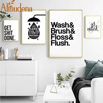 ALMUDENA Bathroom Fun Words Nordic Bathroom Decorative Toilet Personality Ideas Canvas Painting Unframed Wall Art Prints