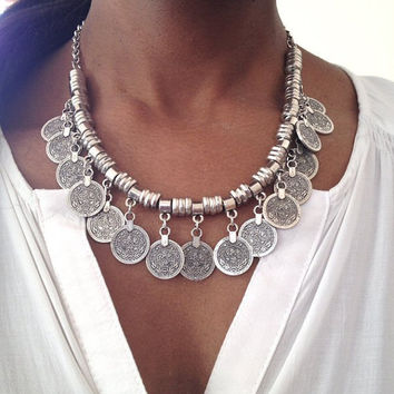 Necklace Boho, Choker silver alloy coin Turkish, Gypsy necklace ethnic jewelry