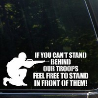 "(2x) Get Behind The Troops Or Get In Front Of Them! Auto Emblem Car Sticker Vinyl Decal (White 8"" CD-0343)"