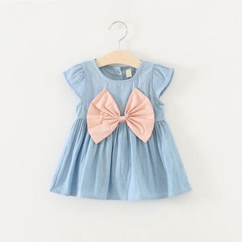 2016 Girls 0-2 Years Summer Jeans Dress Baby Pure Cotton Short-Sleeved Denim Dress Children Big Bow Casual Jeans Dresses