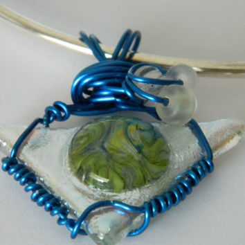 Fused Glass Color Bubble in Silver Dichroic Triangle wire wrap pendant necklace