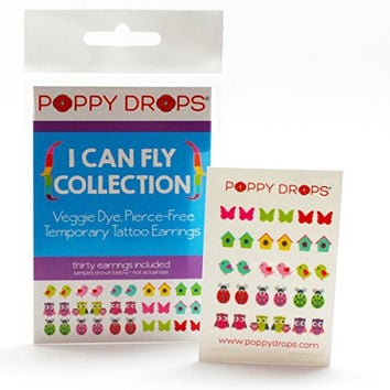 I Can Fly Collection - Veggie-Based Temporary Tattoo Earrings. Safe, Non-Toxic Ear Piercing Alternative.