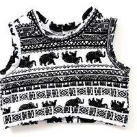 Baby crop top elephant monochrome baby and toddler crop top kids fashion summer clothing elephant baby cropped shirt sleeveless