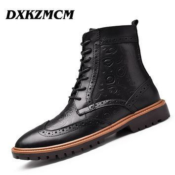 DXKZMCM Men Winter Boots Size 38~47 Warm Genuine Leather British style Men Snow Boots