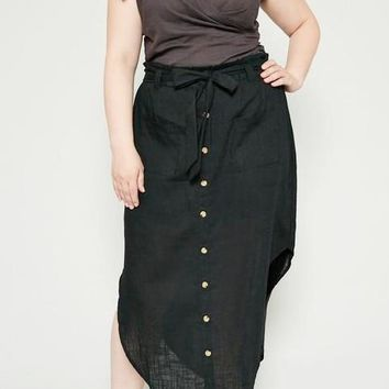 Tessa Curve Linen Blend Midi Skirt in Black