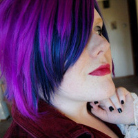 ON SALE // DOUBLEBERRY // Bright Purple and Blue / Black // Straight Short / Medium Layered Wig