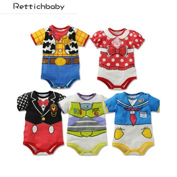 Retail New fashion Newborn Summer Style Short Sleeve Baby Rompers / Cartoon Baby Boy Clothes / Baby Clothing Girl Costumes
