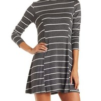 Charcoal Combo Striped Turtleneck Shift Dress by Charlotte Russe