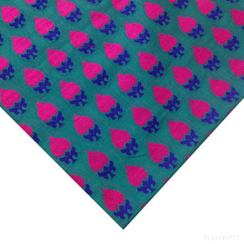 Teal / Green and Hot Pink Embroidered Silk Fabric - Embroidered Silk Phulkari - Pure Silk Indian Embroidery Fabric