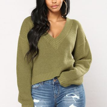 Rhythm Nation Crop Sweater - Olive