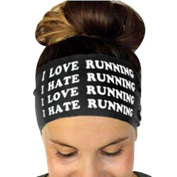 PEAP78W Hairbands Girls Headwear Headbands Head Wrap Band Bandana Letters Printed Sweatband Stretch Fitness Headband Hair Band