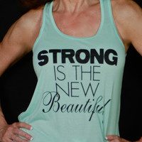 Strong Is The New Beautiful Fitness Crossfit Running Yoga Tank Mint Green - Small