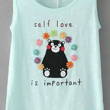 Blue Letter Bear Print Embroidered Sleeveless Tank Top