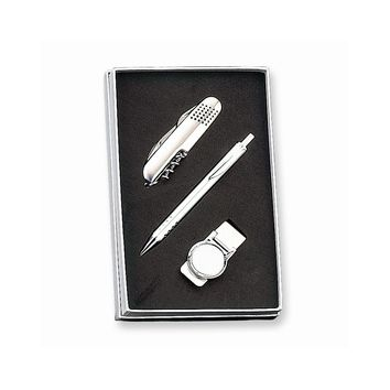 Pen, Knife and Money Clip Set - Engravable Personalized Gift Item