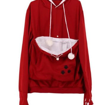 New Re-/White Patchwork Pockets Pet Pouch Carrying Hoodie Casual Pullover Sweatshirt