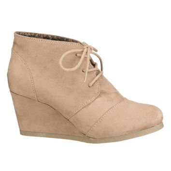 Taupe Eva Lace Up Wedge - Beige