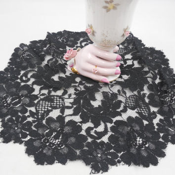 "Black Lace Net Doily 10"" Round, Vintage Black Doily, Dresser or Lamp Doily, Small and Sweet Leaf and Flower Pattern"