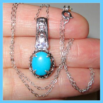 Sleeping Beauty Turquoise Tanzanite 2.6cts Necklace Pendant Sterling Silver 925