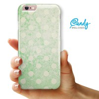 """Faded Grunge Green White Polka Dot Pattern iPhone 6 & iPhone 6s (4.7"""" iPhone) Ultra Gloss Candy Shell Case"""