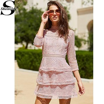 Sheinside Vintage Crochet Dress Women Pink High Neck 3/4 Sleeve Layered Dotted Dresses 2017 	Cute High Neck Party Summer Dress