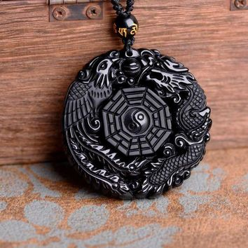 ac spbest Drop Shipping Black Obsidian Carving Dragon and Phoenix Necklace Pendant  Obsidian  Lucky Pendants