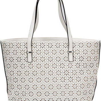 "Alex Tote in White - 11"" x 17"" x 6"" Laser Cut Purse/Handbag"