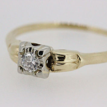Vintage Engagement Ring Promise Ring Art Deco Ring Dainty Ring Estate Ring Thin Gold Ring 14k Yellow Gold Ring Diamond Ring Size 7.75