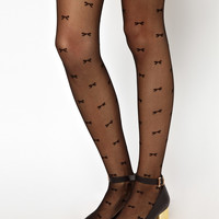 American Apparel | American Apparel Sheer Luxe Bows Tights at ASOS