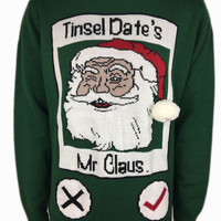 Men and Women's Funny Santa Claus Tinsel Date Ugly Christmas Sweater