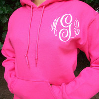 Monogrammed Hoodie sweatshirt 30 colors to choose by maryandlucy