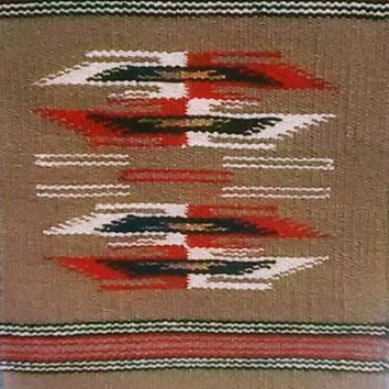 Aztec Table Rug # 3, Hand Loomed Wool 15' by 20""