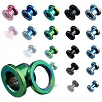 Green Titanium Plated Over 316L Surgical Stainless Steel Screw Fit Flesh Tunnels - 1
