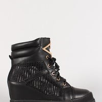 Leatherette Mesh Wedge Sneaker