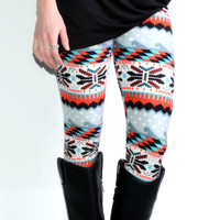 Winter Wonderland Grey & Red Printed Leggings - One
