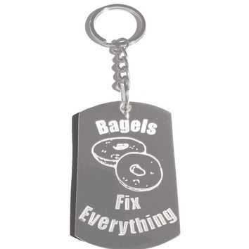 Bagels Fixes Everything Metal Ring Key Chain Keychain