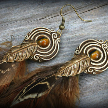 Bohemian Feather Earrings clay gemstones crystals Natural ethnic new age free spirit goddess wearable art