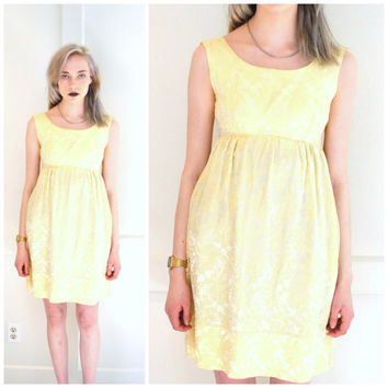PASTEL yellow brocade dress vintage 1960s 60s dresses retro BABY DOLL metal zipper summer dress small
